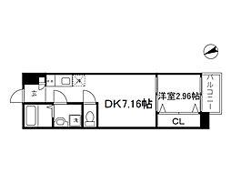 Osaka Metro長堀鶴見緑地線 大阪ビジネスパーク駅 徒歩7分の賃貸マンション 8階1DKの間取り