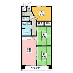 パークサイドHONDA[4階]の間取り