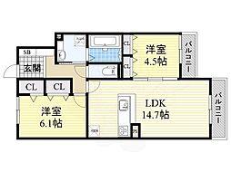 北大阪急行電鉄 桃山台駅 徒歩24分の賃貸アパート 3階2LDKの間取り
