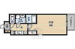 レジュールアッシュ都島 9階1Kの間取り