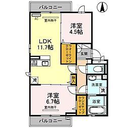 大阪府大阪市平野区背戸口2丁目の賃貸アパートの間取り