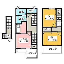 ハッピープレイスA[2階]の間取り