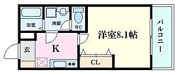 広島電鉄5系統 南区役所前駅 徒歩18分の賃貸アパート 3階1Kの間取り