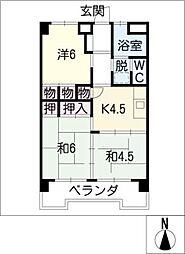 第一富士マンション A棟[1階]の間取り