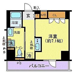 ジェノヴィア東日本橋駅前グリーンヴェール 4階1Kの間取り