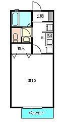 茨城県水戸市千波町の賃貸アパートの間取り
