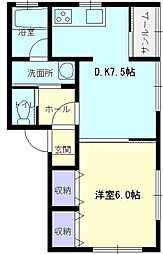 秋田県大仙市福田町の賃貸アパートの間取り