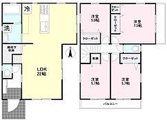 建物プラン例 建物価格1458万円(税込)、建物面積104.26m2