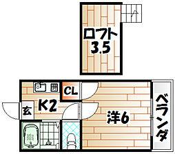 レオパレス浅生[2階]の間取り