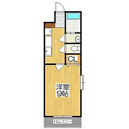 京阪本線 藤森駅 徒歩7分の賃貸マンション 2階1Kの間取り