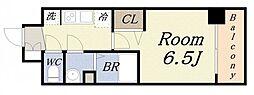 プレサンスOSAKADOMECITYスクエア 6階1Kの間取り