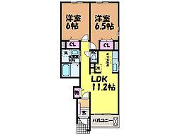 愛媛県松山市福音寺町の賃貸アパートの間取り