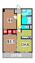 ソレアード武蔵浦和[3階]の間取り