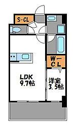 福岡市地下鉄七隈線 渡辺通駅 徒歩9分の賃貸マンション 6階1LDKの間取り