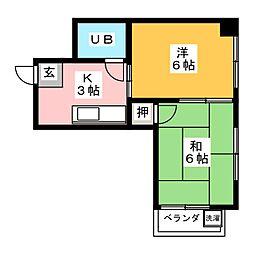 ハイツ西口田中ビル 5階2Kの間取り