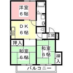 岐阜県各務原市蘇原新栄町3丁目の賃貸アパートの間取り