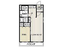 福島県いわき市小名浜西君ケ塚町の賃貸マンション 2階1LDKの間取り