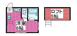 埼玉県蕨市塚越1丁目の賃貸アパートの間取り