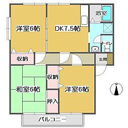 広島県福山市蔵王町2の賃貸アパートの間取り