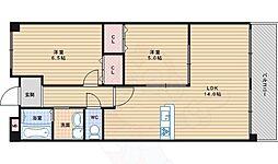 JR阪和線 我孫子町駅 徒歩11分の賃貸マンション 3階2LDKの間取り
