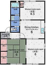 和歌山県有田市新堂の賃貸マンションの間取り