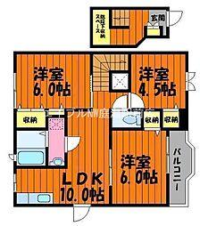 岡山県倉敷市茶屋町早沖丁目なしの賃貸アパートの間取り