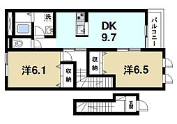 ウイングヒルB[2階]の間取り