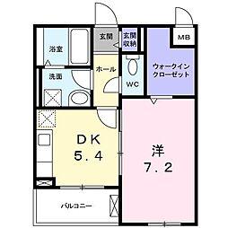 長野西アパートB[0201号室]の間取り