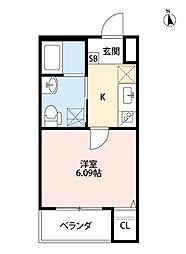 ファーストハウス 2階1Kの間取り