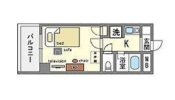 家具・家電付き朝日プラザ博多6[3階]の間取り