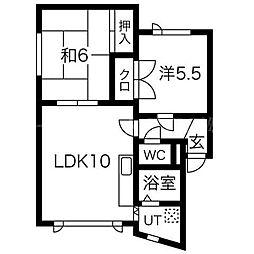 北海道札幌市東区北三十五条東12丁目の賃貸アパートの間取り
