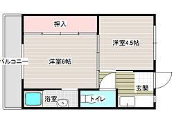 大阪府八尾市田井中1丁目の賃貸マンションの間取り