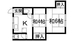 兵庫県川西市南花屋敷1丁目の賃貸マンションの間取り