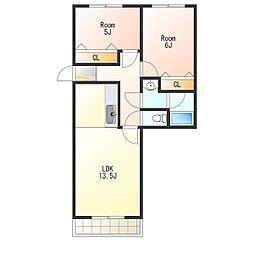 KDマンション1[2階]の間取り