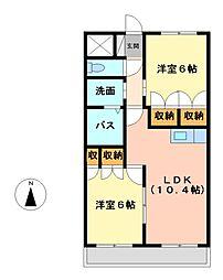 愛知県名古屋市中川区大当郎1の賃貸アパートの間取り