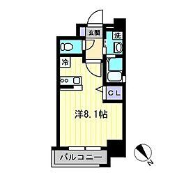 J-PLACE天神東 5階ワンルームの間取り
