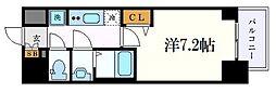 プレサンス丸の内アデル 7階1Kの間取り