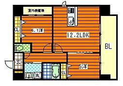 広島県広島市南区京橋町の賃貸マンションの間取り