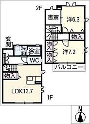[タウンハウス] 愛知県犬山市大字木津字西ノ畑 の賃貸【/】の間取り