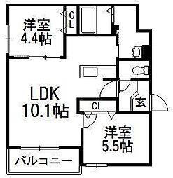 北海道札幌市手稲区手稲本町三条4丁目の賃貸マンションの間取り