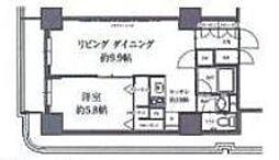 東急田園都市線 駒沢大学駅 徒歩2分の賃貸マンション 19階1LDKの間取り