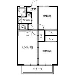 愛知県名古屋市名東区高社2丁目の賃貸アパートの間取り