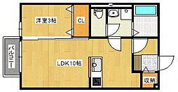 ルモン櫛原[2階]の間取り