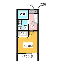 愛知県名古屋市中川区東中島町5の賃貸アパートの間取り