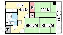 カロンズ鈴蘭台北町[503号室]の間取り