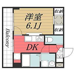 成田スカイアクセス 成田湯川駅 徒歩13分の賃貸マンション 2階1DKの間取り