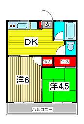 コーポ栄第1[2階]の間取り