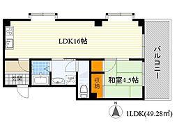 チサンマンション第5江坂[7階]の間取り