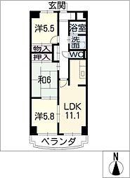 ドミー渡辺[6階]の間取り