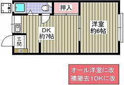 花谷マンション[302号室]の間取り